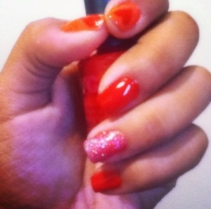 Did this cute V-Day inspired nail design! Quick & easy to do (:
