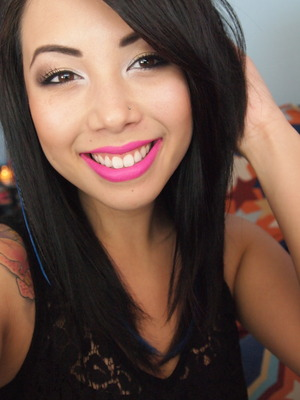 neutral eyes and bright pink lips