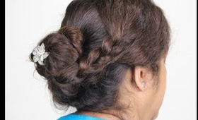 Messy Coiled bun with Side braid - Updo Party hairstyle- for Holidays Christmas/Thanksgiving/Bridal