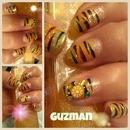 Zebra funky nails