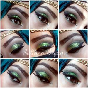 Green glitter cut crease look