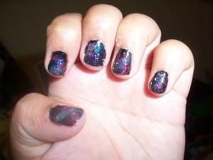Using Sally Hansen nail polish in invisible and black out