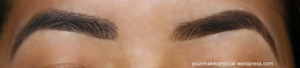 Charcoal colored brows on the left; brown on the right. Which do you prefer?