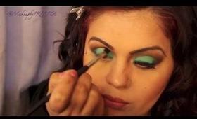 Bright Green Makeup Tutorial Using  KARMAH COSMETICS