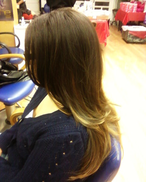 The great thing about Ombre is even if you cut your hair the ombre will show. Great way to save money.