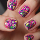 Super colorful layered dot nails