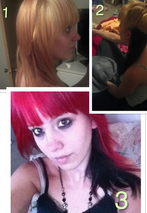 This is my friend Ashley. I've done this style on myself before and I thought I'd share how I do it. Now, granted, when I did it on myself, my hair was already blonde. Her hair started out as a lightish brown that was a result of faded black color. **Splat Hair Color was used for the red and bleaching.  1: First I parted her hair the way she wanted, and tied the bottom part up with a hair tie. Clips would help too. Then I used the pre-lightening bleach that came with the coloring kit, mixed with some conditioner, and bleached the top part of the hair. Let it sit for 25 minutes. After rinsing, I put more conditioner in her hair and left it in, and blow-dried it.  2: I then tied up the top part of the hair with the hair tie from the bottom part, and applied the black color to that section only. I also mixed conditioner into the bottle. After rinsing I put more conditioner into her wet hair and blow dried it for this section as well.  3: Finally, I applied the red to the top section very generously. Since it was a small bottle I tied up the bottom section as a guideline so to not waste the color. However, it's not necessary since it won't show over black hair.