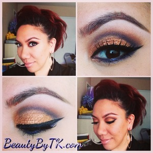 Mac brassy fluidline lid with mythology eyeshadow on tip, naked palette on crease. Follow on Instagram @beautybytk