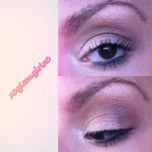 Shimmery white shadow on the lid, and light/deep brown color in the crease.