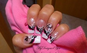 Black and White Flower Nail Art With Dotting Tool - ♥ MyDesigns4You ♥