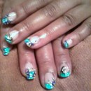 Teal tips with purple flowers 2