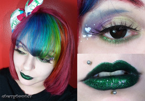 A simple makeup using my new palette Alchemy from Lime Crime and Serpentine Lipstick ( look my new pink rainbow hair)
