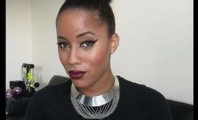 Oxblood lips & Dramatic Winged Eyeliner: Fall Makeup Tutorial