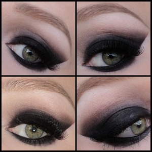 I made this black smokey eyes using the sleek au naturelle palette when I went clubbing last weekend. Sorry for the bad lighting, the picture on the bottom left is with flash.