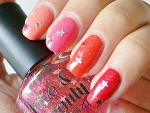 """Day 5 of the June nail polish photo-a-day challenge is """"summery"""". Polishes Used: ELF Smokin' Hot ELF Party Peach ELF Flirty Fuchsia ELF Coral Dream Love & Beauty Pink/Silver Stars"""