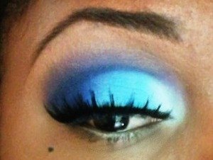 I used some blues from my Blush Professional palette. I used NYX eyeshadow base in white. Lashes are by Eyelure.