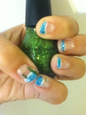 As always if you would like a tutorial on this design plz leave a comment below :) S.C.-call you later revlon-clear coat,radiant wet n wild-shaken snow globe,sagreena the teenage witch N.Y.C.-241 Super Shine-french white tip