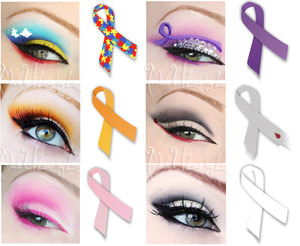 Ribbon colors that I have done so far. All illnesses/awarenesses are listed on my facebook page, www.facebook.com/madeulookbylex