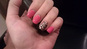 Self acrylics with coral paint and a leopard party nail Loreal Paris Nail Polish - Mango-Get-Em Essie - Penny Talk Essie - Case Study Seche Vite - Dry Fast Top Coat