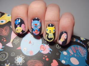 Inspired by my diary :) http://arvonka-nails.blogspot.sk/2014/01/macicky-rybicky.html