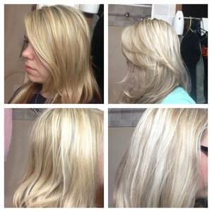 Heavy highlight on prev. highlighted & 6n low lighted hair-before(slightly brassy) then ultra toner for about 5min.-after(platinum & wheaten)