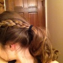 Braided bangs with curled ends:)