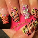 Blinged Out Neon Gradient With Zebra Print