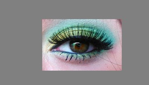used nyx sea foam green and nyx yellow with a mac green sorry my hair is on my eye :[