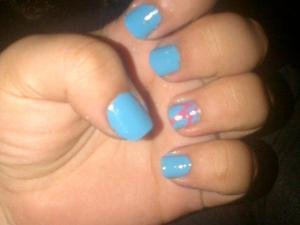 Sky Blue Nails with Pink Design