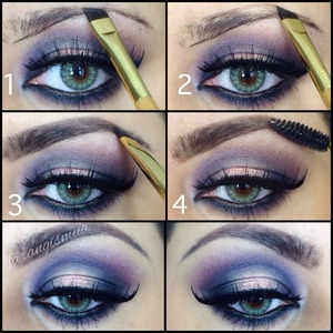 This one is the step by step picture where you can see how I fill in my eyebrows using Anastasia beverlyhills dip brow