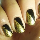 Gold and black nail art
