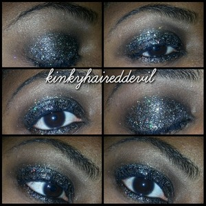 black, gold, and silver glitter look using my bh cosmetics glitter.