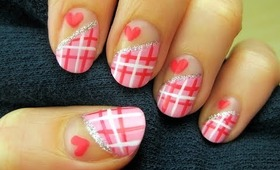 Valentine's Sweetheart Plaid Nails