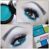 Glitter teal accented eyeshadow
