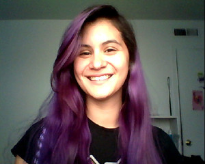 No make-up, but freshly dyed and air-dried (no styling) hair. Used Manic Panic Amplified hair color.