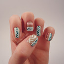 Teal, Nude and Coral Tribal