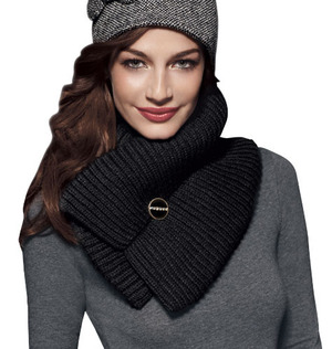 """mark Warm Wishes Wrap Scarf Warming Trends  $30.00  Elastic runs through the center so it stays super-snug around your neck. 100% acrylic. Imported. 28"""" L x 9"""" W."""