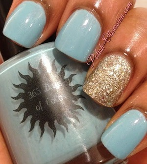 OPI Spark de Triomphe as an accent http://www.polish-obsession.com/2013/07/365-days-of-color-bora-bora.html