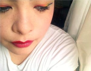 Rainbow liner with red lip ombre