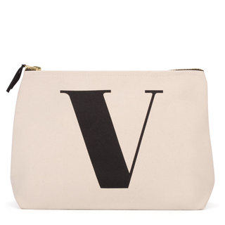 Natural Wash Bag Letter V