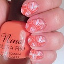 Coral & White Stamped Nails