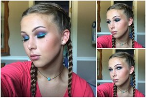 All shadows are from the Anastasia couture palette, with wet n wild turquoise liquid eyeliner