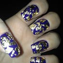 Blue and Gold leaf nails