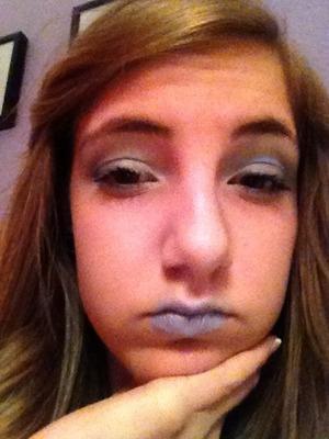 A harsh blue winter makeup look