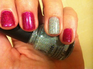 Gelous base coat, orly miss conduct, china glaze glistening snow for accent nail 2 coats of each color, gelous for topcoat, finished with 2 coats of seche vite