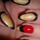Gold, black, red