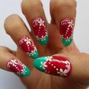Magenta And Sea Green Nails