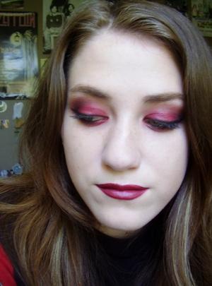 dark red riding hood/she devil makeup