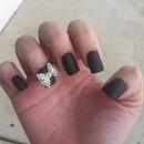 3D bow matte black nails