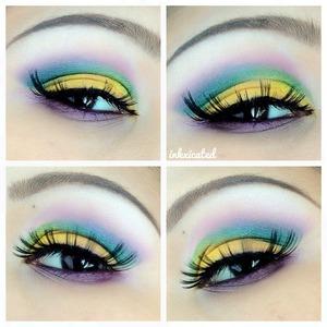 yellow + green + purple